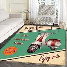 Vintage Area Rug Carpet Scooter Motorbike Summer
