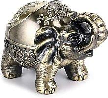 Vintage Ashtray with Lid, Vintage Elephant Metal