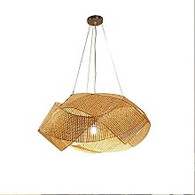 Vintage Bamboo Pendant Light Hand-Woven Natural