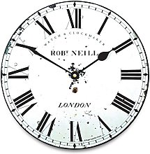 Vintage Black and White Wall Clock - 'London