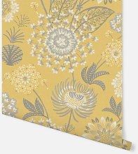 Vintage Bloom Mustard Yellow Wallpaper 676206 -