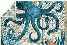 Vintage Blue Octopus Nautical Map Indoor Area Rug