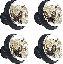 Vintage Butterfly Daisy Flower 4PCS Cabinet Knobs,