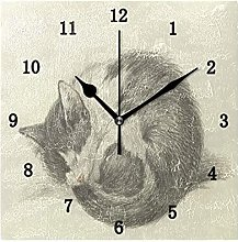Vintage Cat Wall Clock, Silent Non Ticking Battery