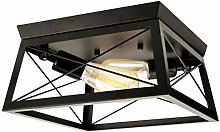 Vintage Ceiling Light Fitting Black Square