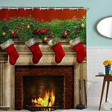 Vintage Christmas Long Shower Curtains,Xmas Eve