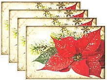 Vintage Christmas Red Poinsettia Flowers Placemats