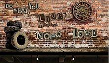 Vintage Clock Gear Wall Brick Background wall-300