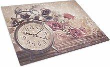 Vintage Clock Pink Glass Chopping Board Kitchen