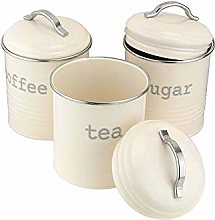 Vintage Cream Enamel Round Set of Tea Coffee Sugar