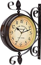 Vintage Double Sided Wall Clock Iron Metal