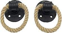 Vintage Drop Ring Drawer Knobs Hemp Rope Black