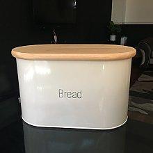 vintage enamel bread bin with wood lid kitchen