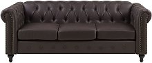 Vintage Faux Leather 3 Seater Sofa Dark Brown