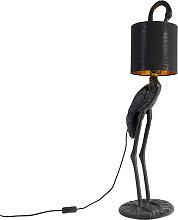 Vintage floor lamp black with fabric shade black -