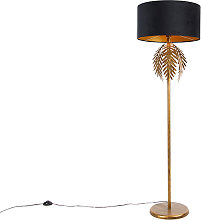 Vintage floor lamp gold with black velvet shade 50