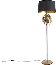 Vintage floor lamp gold with cotton shade black -