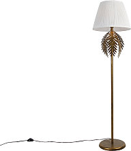 Vintage floor lamp gold with pleated shade white
