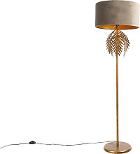 Vintage floor lamp gold with velvet shade taupe 50