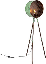 Vintage floor lamp on bamboo tripod green with