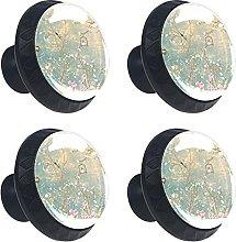 Vintage Florals 4PCS Round Drawer Knob Pull Handle