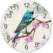 Vintage Flowers And Birds Wall Clock Bedroom