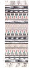 Vintage Geometric Area Rug Cotton Linen Handmade