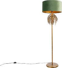 Vintage gold floor lamp with green velvet shade -