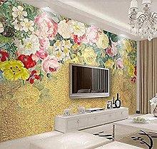 Vintage Golden Wallpaper for Lateral Flower Vine