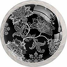 Vintage Gray Flowers 4pcs Glass Cupboard Wardrobe