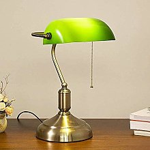 Vintage Green Banker Lamp Antique Metal Banker