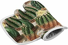 Vintage Green Cactus Heat Resistant Oven Gloves