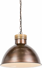 Vintage hanging lamp copper with wood - Pointer