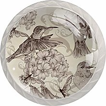 Vintage Hummingbird and Flowers Drawer Knobs Pulls