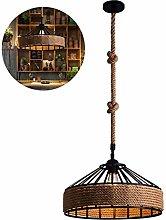 Vintage Industrial Chandeliers Loft Hemp Rope