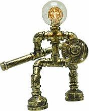 Vintage Industrial Water Pipe Table Lamp Valve Tap