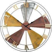 Vintage Iron Wall Clock Black Spade Hands Roman