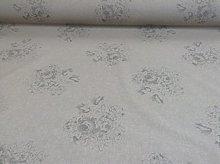 Vintage Linen Cameo Rose Grey Beige Designer