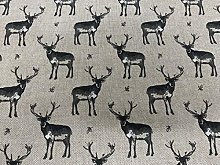 Vintage Linen Petite Stags Grey 140cm Wide Sewing