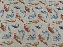 Vintage Linen Safari Koi Carp Fish 140cm Wide