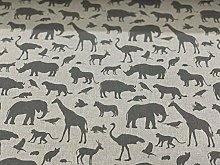Vintage Linen Safari Silhouette Grey 140cm Wide