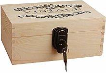 Vintage lock storage wooden box,Wooden Keepsake