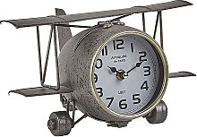 Vintage Metal Airplane Table Clock Decoration