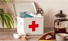 Vintage Metal First Aid Box: Grey
