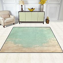 Vintage Mint Green Sky And Clouds Area Rug, Large