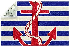 Vintage Nautical Anchor Blue Stripes Indoor Area