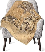 Vintage Pirate Nautical Map Baby Blanket Double