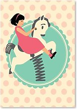 Vintage Playground Horse Graphic Art Wrapped on