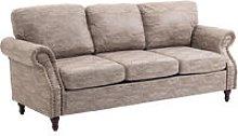 Vintage PU Leather 3-Seater Sofa Retro w/ Wood