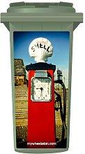 Vintage Red Shell Petrol Pump Wheelie Bin Sticker